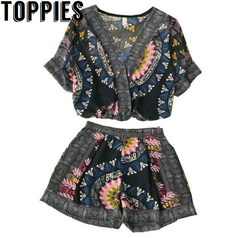 Toppies Women 2018 Summer Clothing Sets V-neck Bohemian Chiffon Vintage Tops+ Shorts 2pcs Holiday Clothing sets