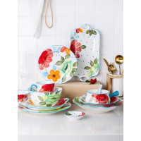 ceramic dinnerware set Japan style under glazed cutlery sets sun floral printed dinner set 2 person use 4 users tableware sets