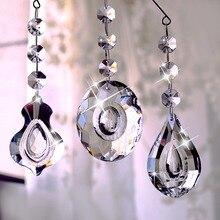 H & D 63mm čirý křišťálový lustr Prismy Teardrop skleněné přívěsky korálky Loquat housle oválné tvar Crystal přívěšek, balení 3