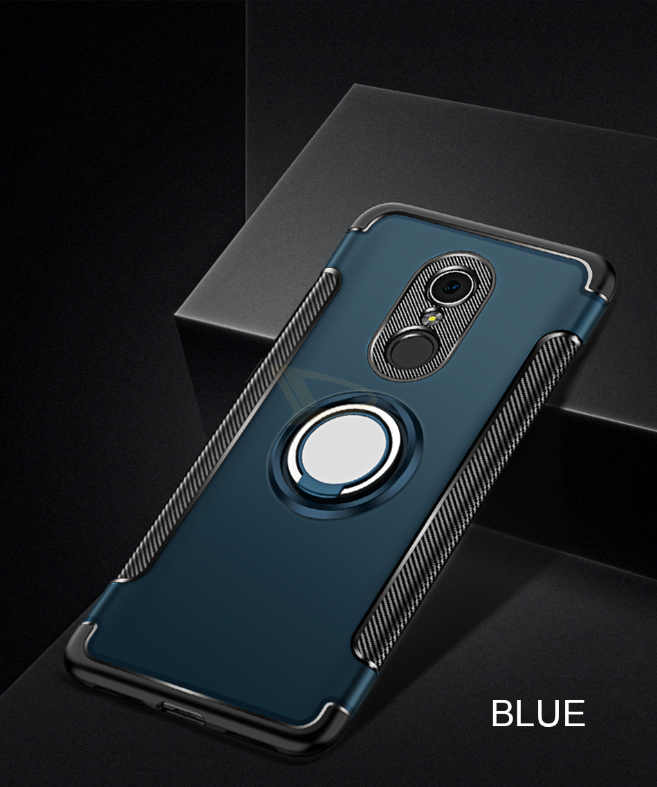 Luxury Soft Shockproof Case For Xiaomi Redmi 4X Note 4 4X Full Cover For Redmi 5 PLus Note 7 Pro 6 6A Hard PC Bracket Ring Cases