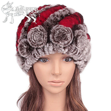 Women's winter hat knitted genuine rex rabbit fur hat for woman 2017 fashion beautiful floral causal female beanie real fur hats