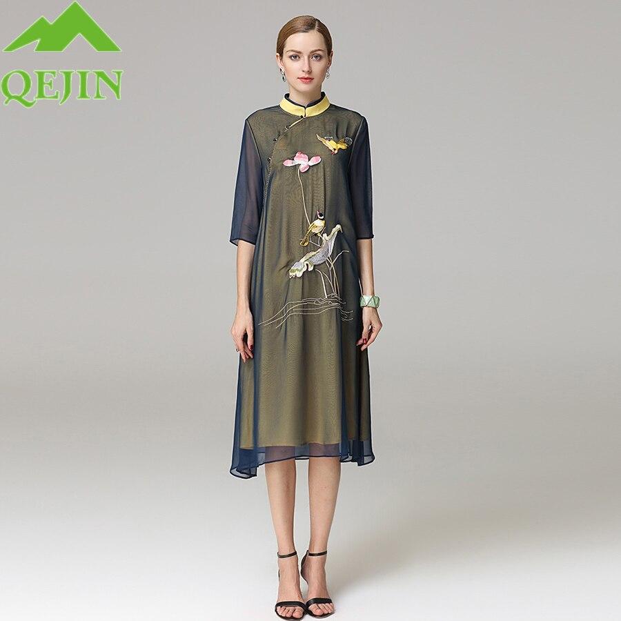 8ff0cb710d 2018 summer dress Embroidery birds silk oraganza Half sleeve cheongsam  collar lady Plus size elegant fashion girl dresses