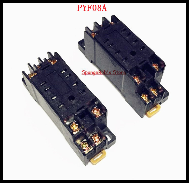 4--10pcs/Lot PYF08A 8 Pin Mini Relay Socket Base For MY2NJ,HH52P,H3Y-2,JZX-22F/2Z 3 pcs din rail mounting plastic relay socket base holder for 8 pin relay pyf08a