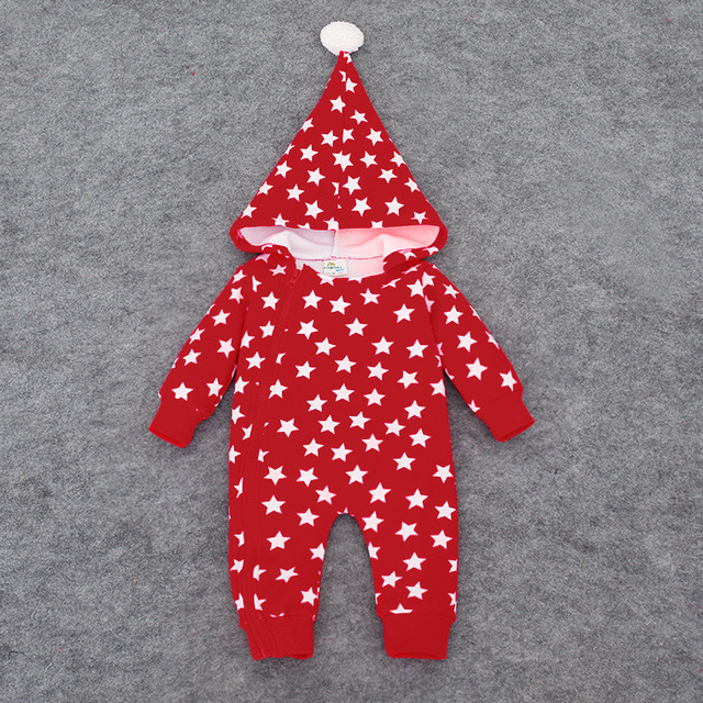 a76299f5d Winter Baby Rompers Thickened Infant Clothing Hooded Jumpsuit Star ...