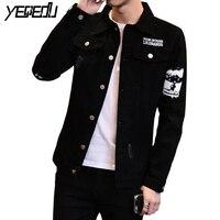 #7426 Spring/Autumn 2018 Preppy Style Denim Jacket Men Black Jeans Coat Punk Slim Fit Jaqueta Jeans Vintage Jeans Jacket Hip Hop