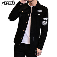 #7426 Spring/Autumn 2018 Preppy Style Denim Jacket Men Black Jeans Coat Punk Slim Fit Jaqueta Jeans Vintage Jeans Jacket Hip Hop
