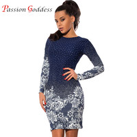 Plus Size 2016 Women Casual Vintage Dress O Neck Long Sleeve Polka Dot Flower Print Slim