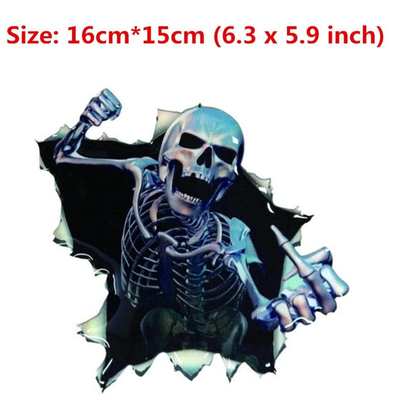 Newbee Car Sticker Skull Skeleton Vinyl Window Wrap Peeking - Motorcycle helmet decals stickers