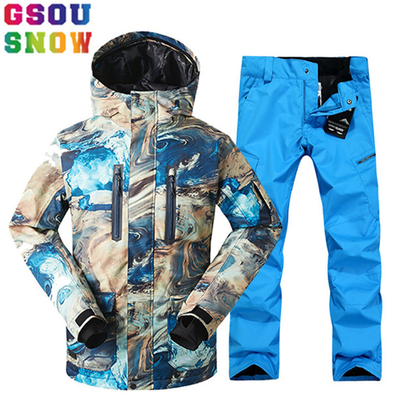 GSOU SNOW Brand Ski Suit Men Ski Jacket Pants Snowboard Sets Waterproof Mountain Skiing Suit Winter Male Outdoor Sport Clothing gsou snow brand ski suit women ski jacket pants winter outdoor waterproof cheap skiing suit female snowboard sets sport clothing