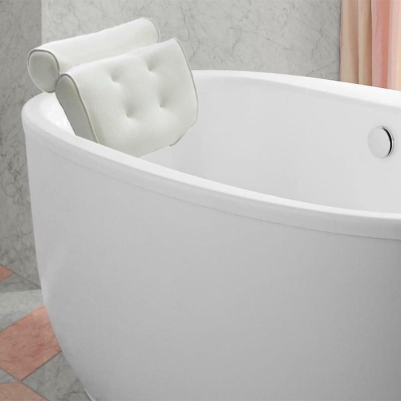 Image 5 - 3D Mesh Bathroom Bathtub Pillow Non Slip Cushioned Bath Tub Spa Pillow Backrest Headrest With Suction Cups Neck Bath Cushion-in Bath Pillows from Home & Garden