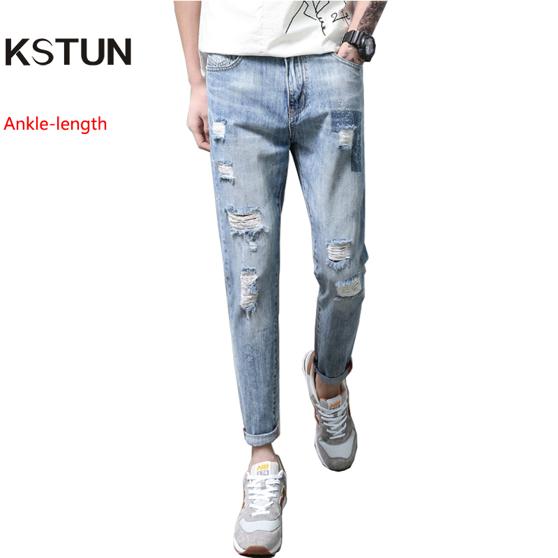 Hip Hop 2018 Ripped Jeans for Men Patchwork Hollow Out Printed Beggar Cropped Pants Cowboys Japan Style Jeans Length 90 cm-97 cm