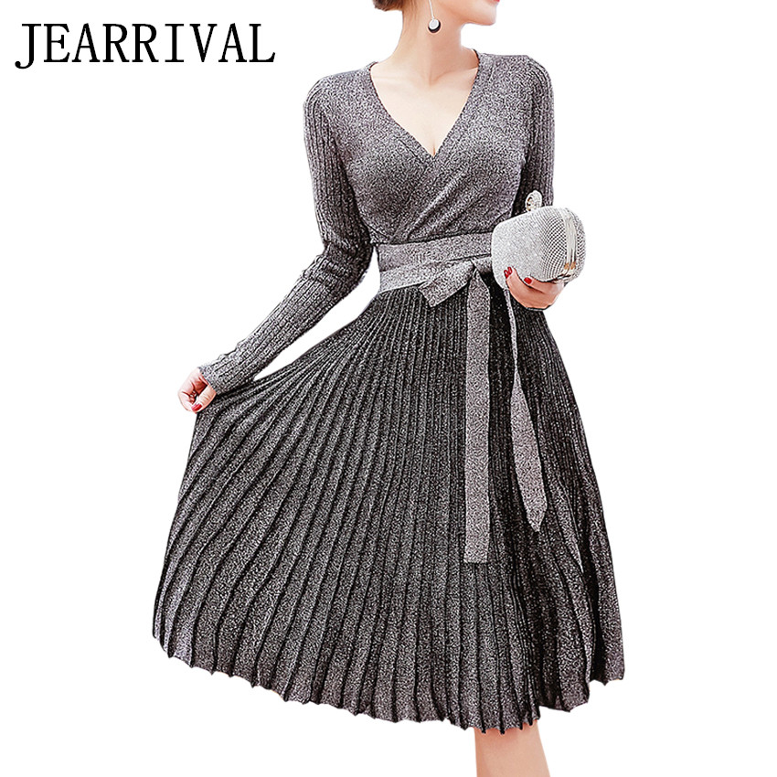 Фото Women Sequins Knitted Sweater Dress 2017 New Brand Fashion Runway Sexy V-Neck Long Sleeve Autumn Winter Dresses Party Vestidos