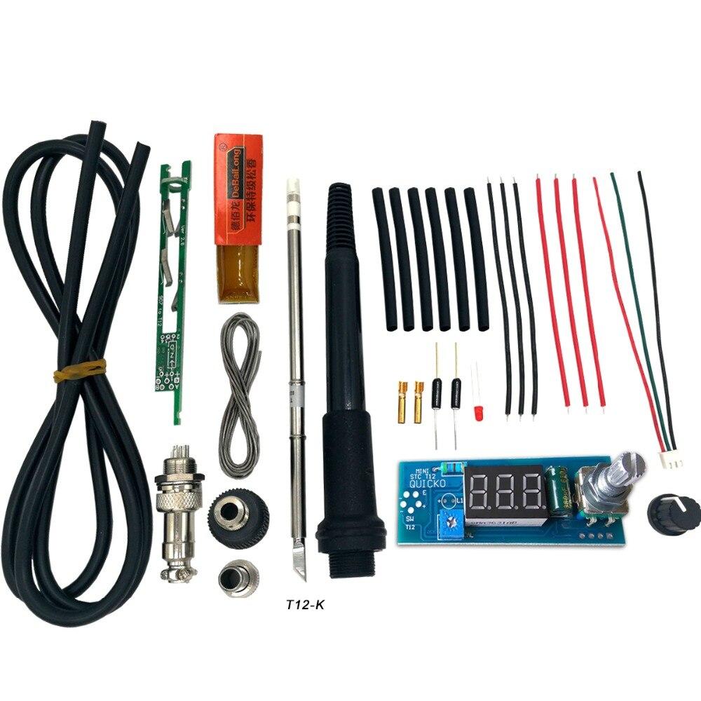 Unidad eléctrica LED Digital soldador Estación de hierro controlador de temperatura DIY Kits uso para HAKKO T12 mango vibratorio puntas del interruptor