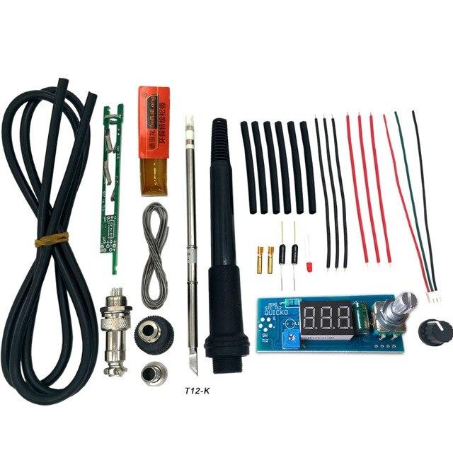 Unidade elétrica Ferro De Solda Estação de Controlador de Temperatura Digital LED DIY Kits para uso T12 Lidar Com interruptor de vibração dicas HAKKO