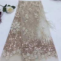 African net lace fabric With Sequins,2018 Gold Pink Sequins fabric High quality Nigeria tulle sequins lace fabric for party H297