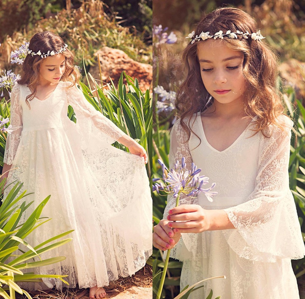 Princess   Girls   Pageant   Dresses   Lace   Flower     Girl     Dresses   Long Sleeves Kids First Communion   Dresses     Girls   Maxi   Dress   Party Gowns