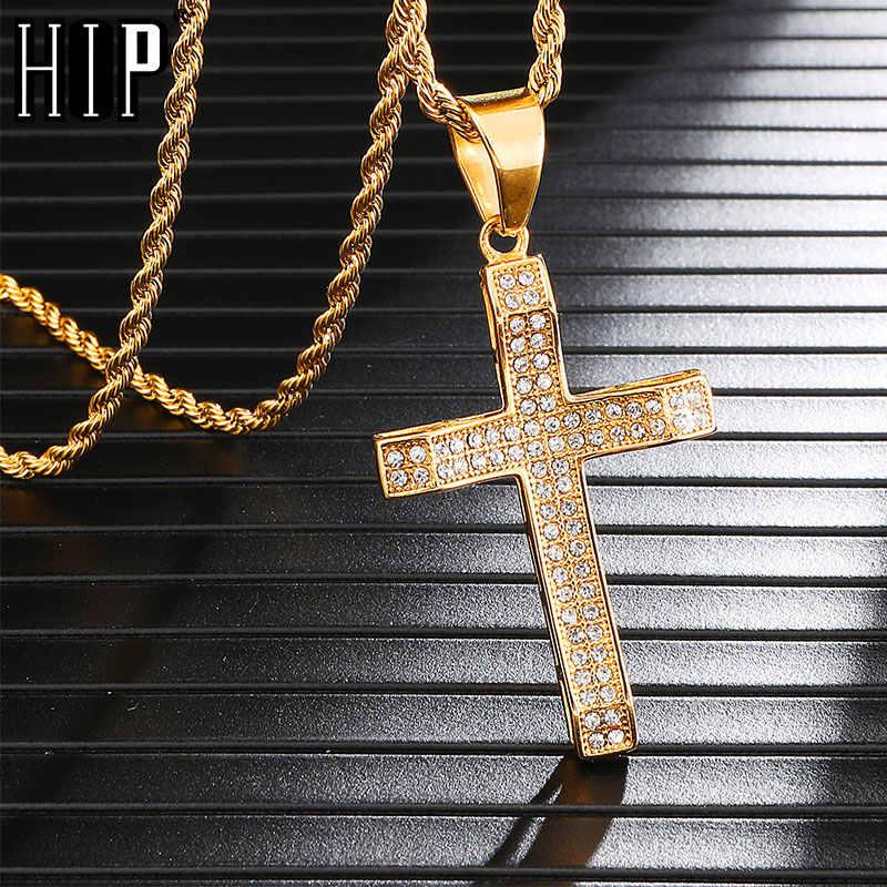 Hip Hop Đá nhân Thép không gỉ Bling Đá Ra Chéo Mặt Dây Chuyền & Dây Chuyền Vàng Màu Dây Dành Cho Nam Trang Sức Dropshipping