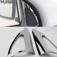 Para hyundai ix35 reequipamento interior pilar triângulo círculo quadro decorativo exterior interior abs chrome guarnição adesivo 2 pces por conjunto set set stickers set frame -