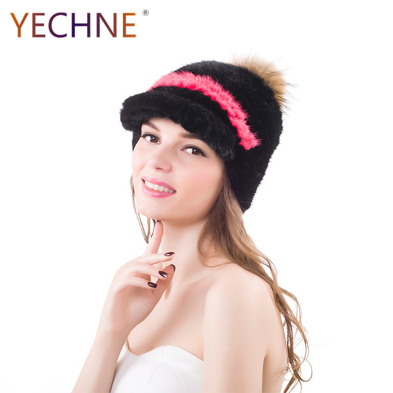 Réel vison fourrure chapeaux avec fourrure de raton laveur pompon hiver chaud mode femmes visières chapeaux vison fourrure chapeau casquettes