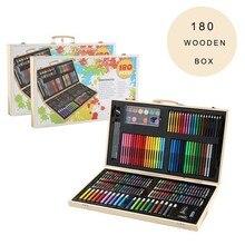 180 шт маркеры для рисования, набор кистей для ручек, детский подарок с деревянной коробкой, посылка, акварельные художественные наборы, канцелярские принадлежности для офиса, подарок