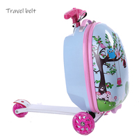 Cartoon skateboard multifunction PC Rolling Luggage Spinner brand Suitcase Suitable for children from 3 to 8 years old