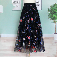 Exquisite Designer Russian Style Elegant Women Fashion Vintage Mesh Skirts Stretchy Waist Flower Embroidery Retro Skirts