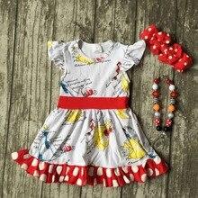 Bébé filles d'été printemps dress enfants mignon polka dot ruffle dress filles boutique coton dress d'été dress avec accessoires