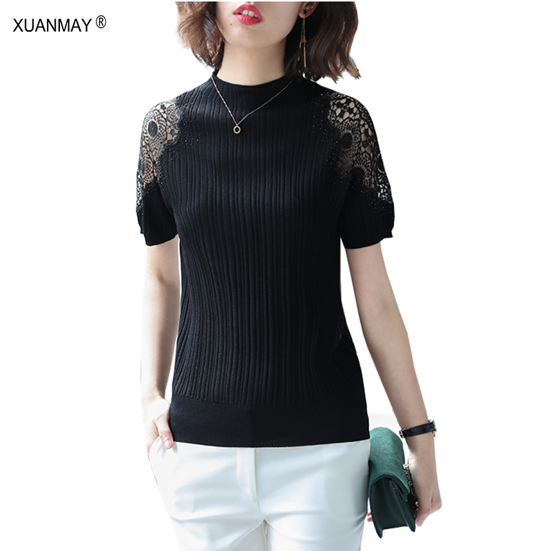 Summer Women's Lace Short Sleeve Thin Sweater 2019 New Slim Office Summer Knit Top Big Stretch Sexy Black Thin Sweater Women