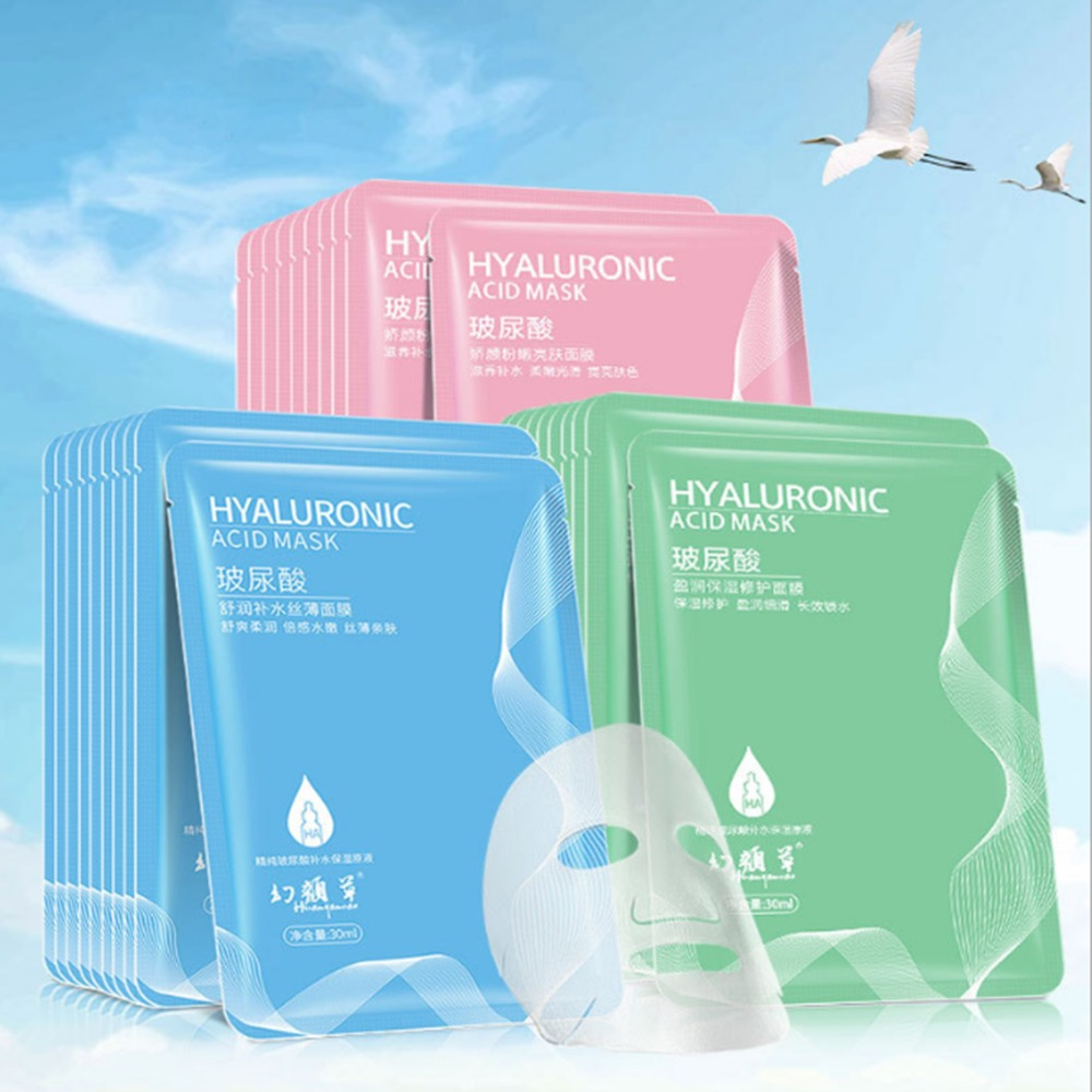 1PCS Face Mask Hyaluronic Acid Vitamin C Plant Extracts Moisturizing Whitening Depth Replenishment Kin Care Mask