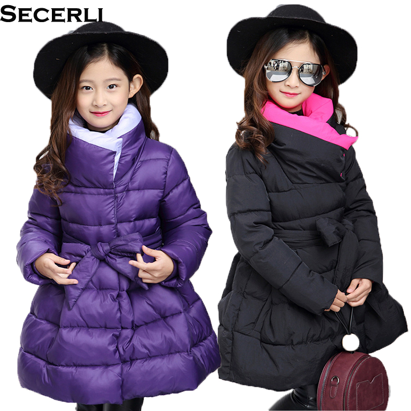 New Fashion Kids Girls Winter Coat Parkas 4 To 12 Years Thick Warm Children Girls Jacket OutDoor Cotton Padded Slim Kids Parkas 4 to 12 years kids