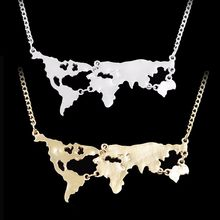 Hot Sale New Fashion World Map Pendant Necklace Personality World Jewelry Lovers BFF Creative Gold Silver Black Special Gift(China)