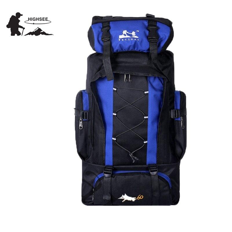 HIGHSEE 60L Outdoors Sports Bags Waterproof Nylon Backpack Women Men Hiking Camping Climbing Fishing Rucksack Bag