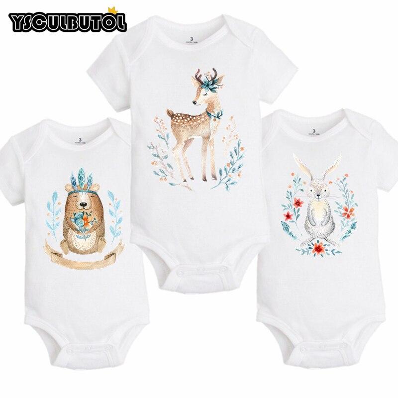 百思买 ) }}YSCULBUTOL Baby Boho style forest animals Bodysuits Infant boy girl 3 PCS/lot Fashion