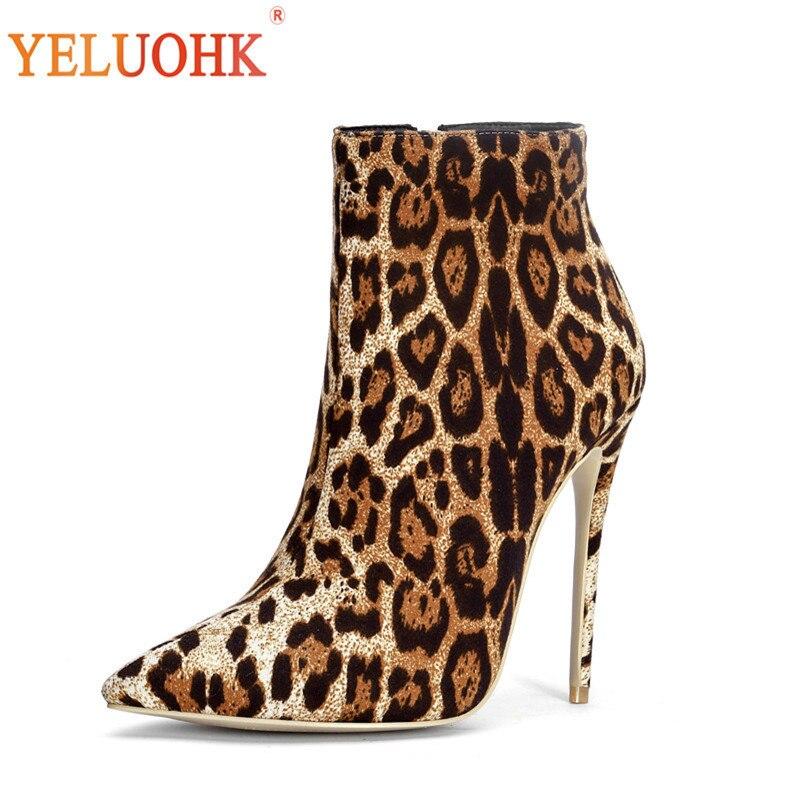 ef46e18c6e6072 Grande Taille Femmes Talon 34 D'hiver 12 Cheville 44 Pour Chaussures Cm  Leopard Bottes WD9eI2HYE