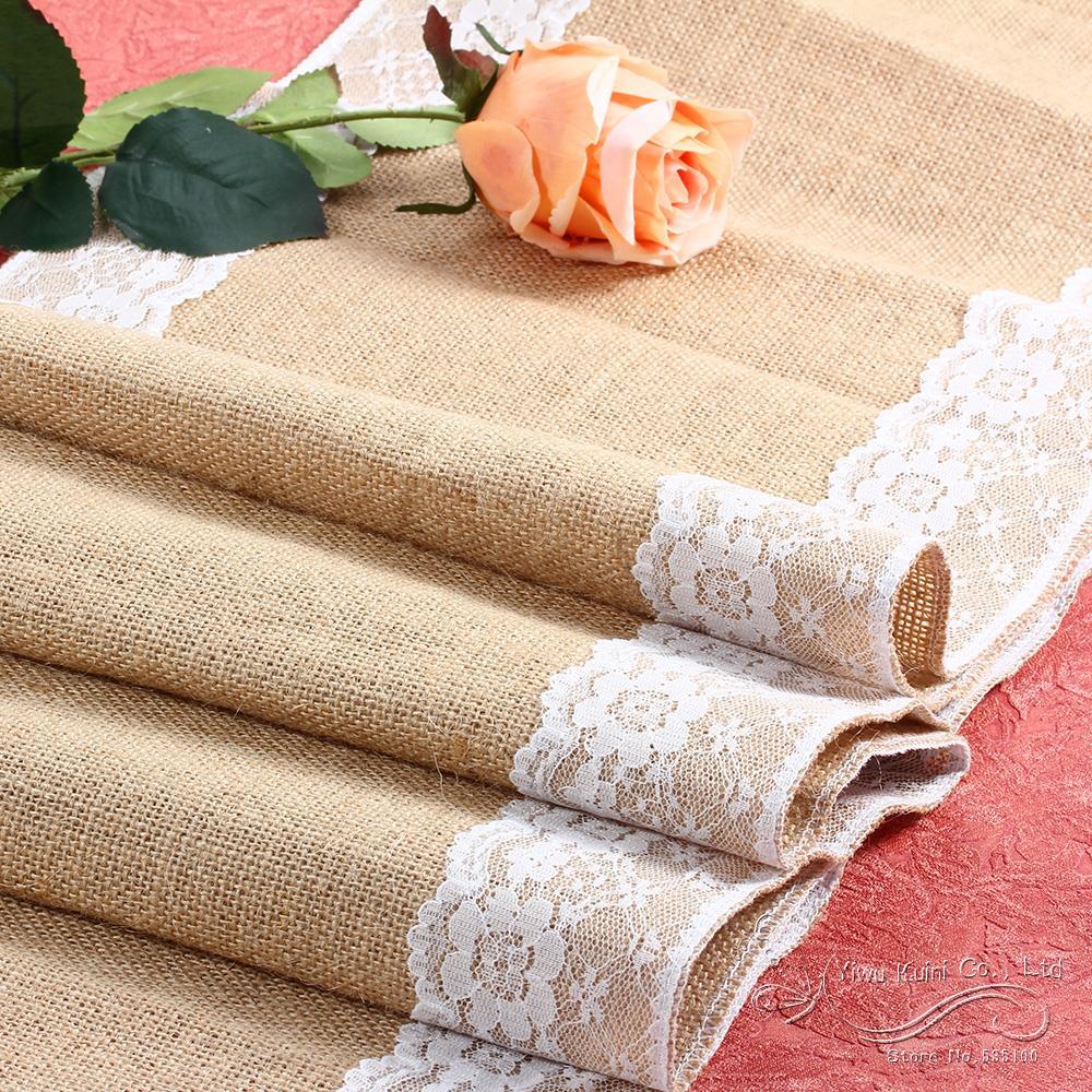 cm x m blanco de encaje camino de mesa de tela de arpillera de