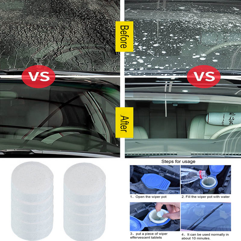 1-10pcs Auto Car Windshield Glass Wash Glass Window Cleaner Car Solid Wiper Fine Wiper Cleaning Concentrated Effervescent Tablet More Discounts Surprises