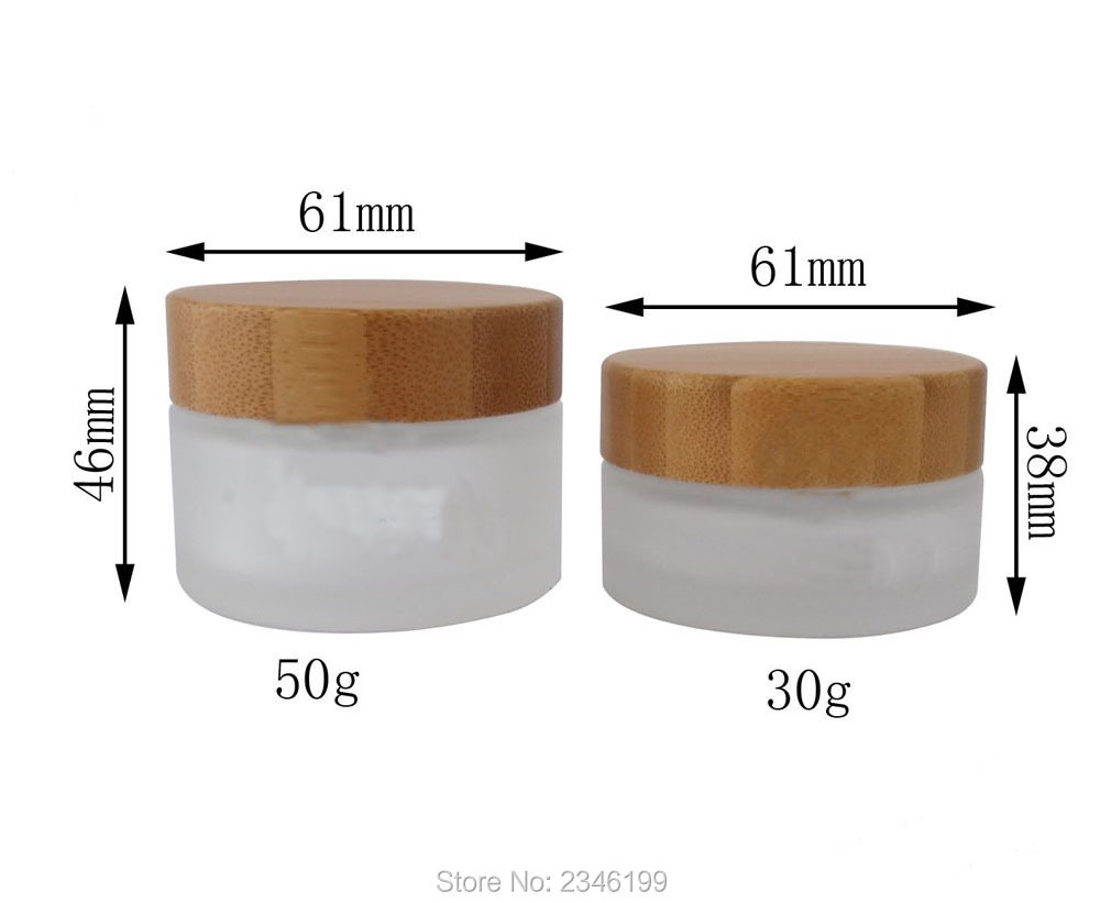30g 50g Frost Glass Jar with Bamboo Lid Cosmetic Cream Sub Bottle Glass Packaging Bottles with