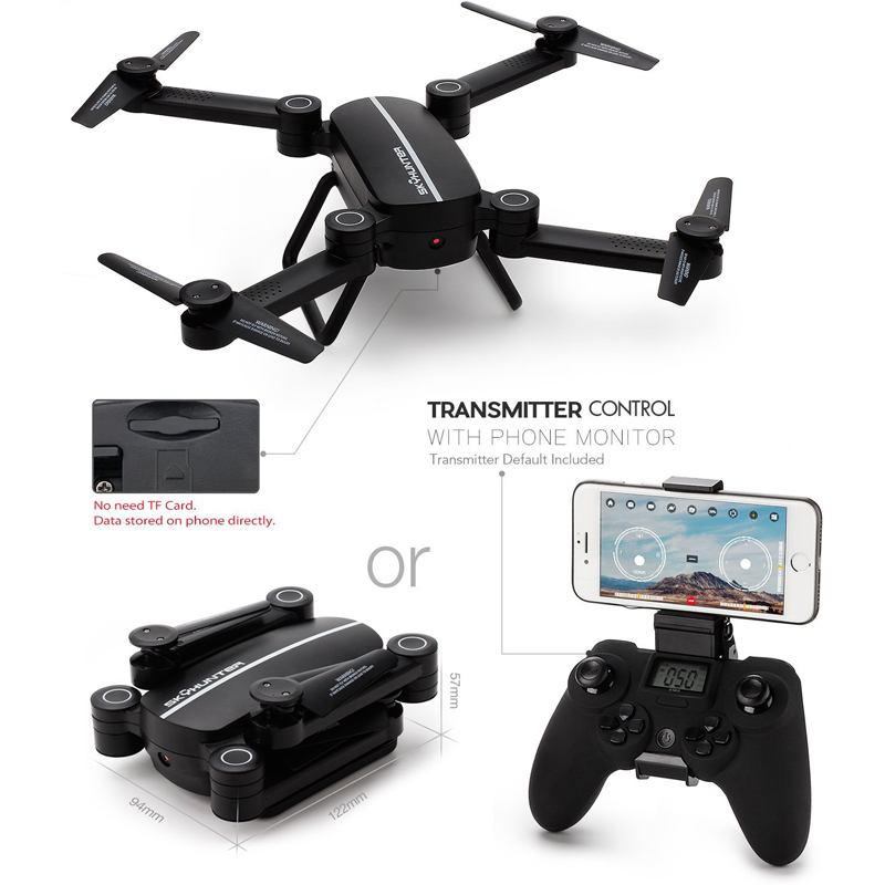 EBOYU(TM) X8TW Sky Hunter Foldable Rc Selfie Drone with Wifi FPV 0.3MP HD Camera Altitude Hold Headless Mode RC Quadcopter Drone купить недорого в Москве