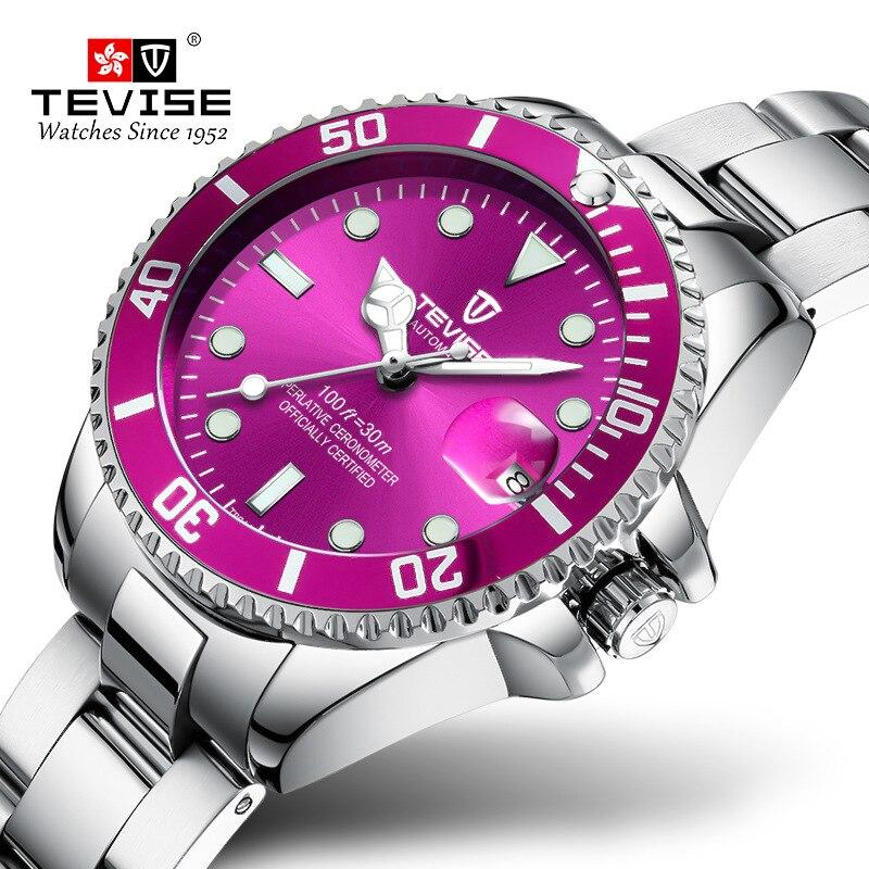 TEVISE Top Brand Women Watches Waterproof Bracelet Stainless Steel Ladies Watch Woman's Quartz Wristwatch Calendar Clock Purple