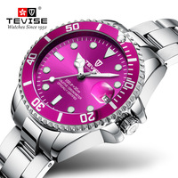 TEVISE Top Brand Women Watches Waterproof Bracelet Stainless Steel Ladies Watch Woman's Quartz Wristwatch Calendar Clock Purple