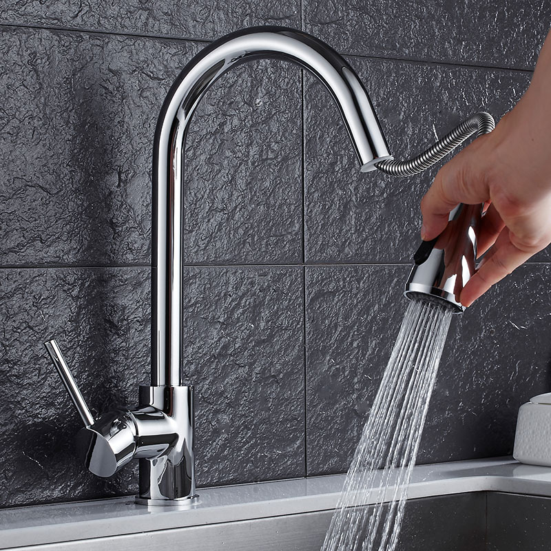 Free Shipping Brass kitchen chrome faucets hot and cold water tap kitchen sink faucet taps mixer with pull down shower head kitchen chrome plated brass faucet single handle pull out pull down sink mixer hot and cold tap modern design