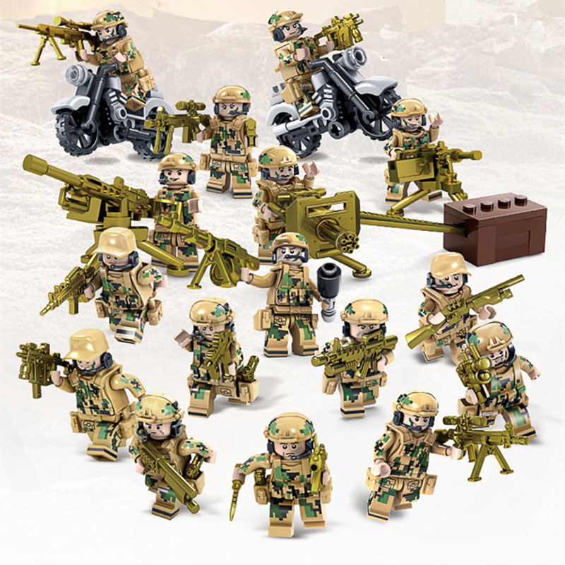 8pcs/set  DIY Military War man of the field team soldiers with Weapon Gun Assembling Building Block Toys for Children Gifts