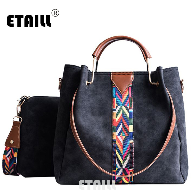 ETAILL Composite Bag 2 Bag/Set Fashion Designer Women Bag With Small Messenger Bag PU Leather Colorful Stripe Wide Strap Handbag
