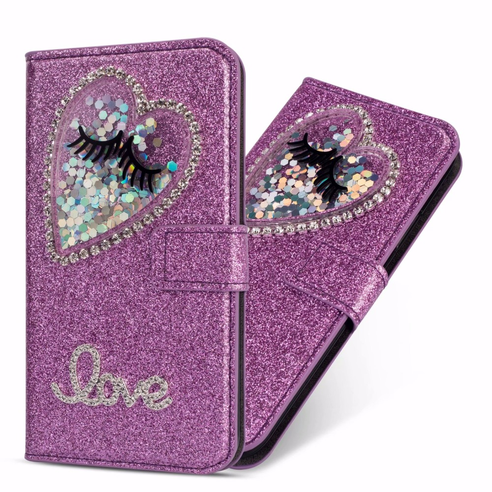 XINGDUO bling Jewelled diamond case for iphoneX XS XR 6 7 8 6s Plus PU Leather flip cute love Glitter Quicksand Wallet Case