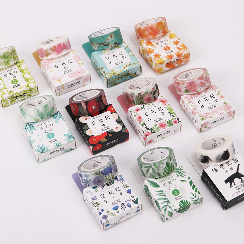 1 PC 11 Styles 15mmx7m Seasons Color Flower Plants Washi Tape Adhesive Tape DIY Planner Scrapbooking Masking Tape