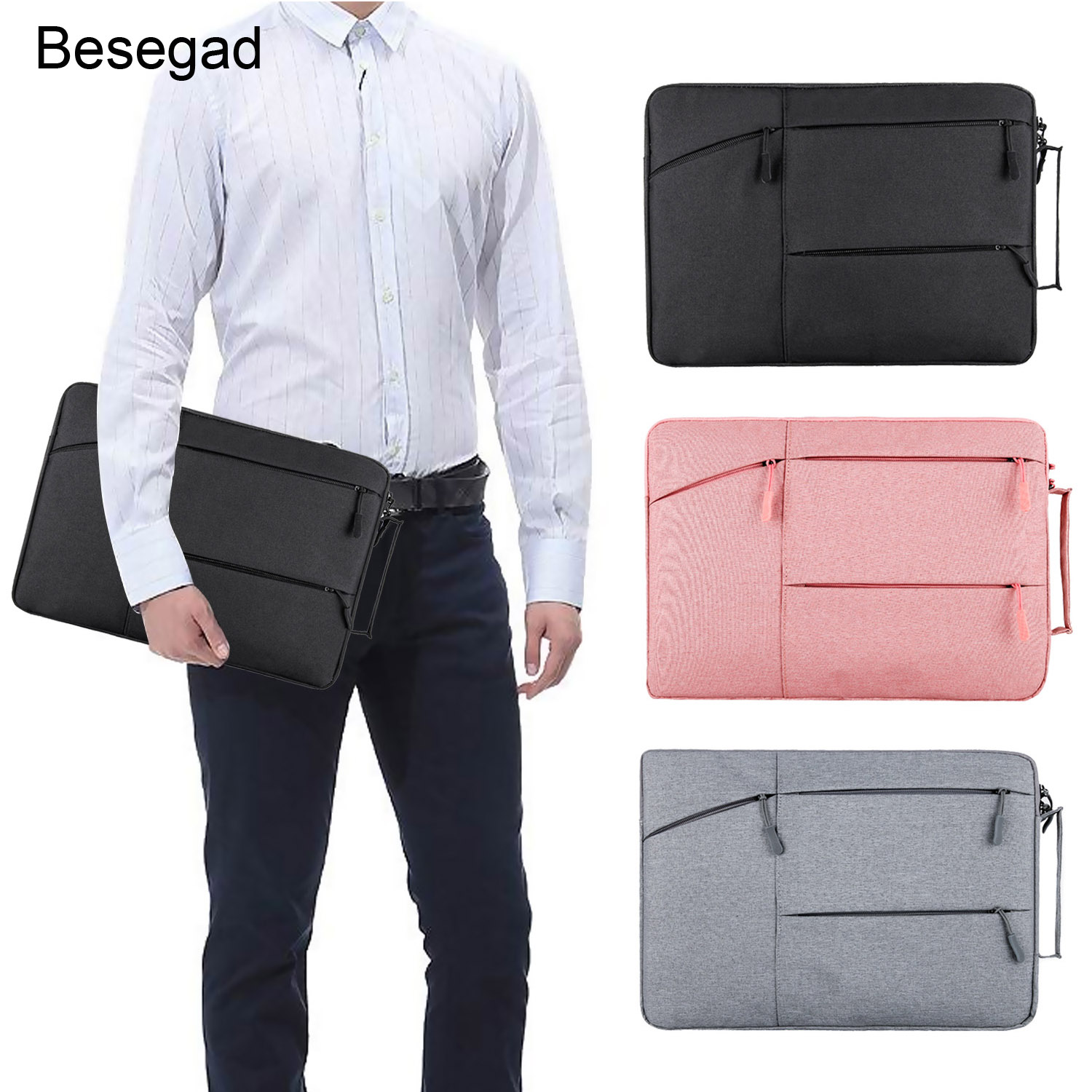 Besegad Multi-Function Laptop Sleeve Handbag Case Cover Bag with Side Pockets for MacBook Air Pro Lenovo Dell 11.6 <font><b>13</b></font> 15.6 Inch image
