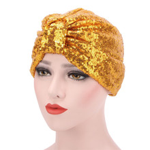 Womens Turban Hats Muslim Stretch Black Burgundy Navy Solid Color Soft Modal Indian Sequins Cap For Women Lace