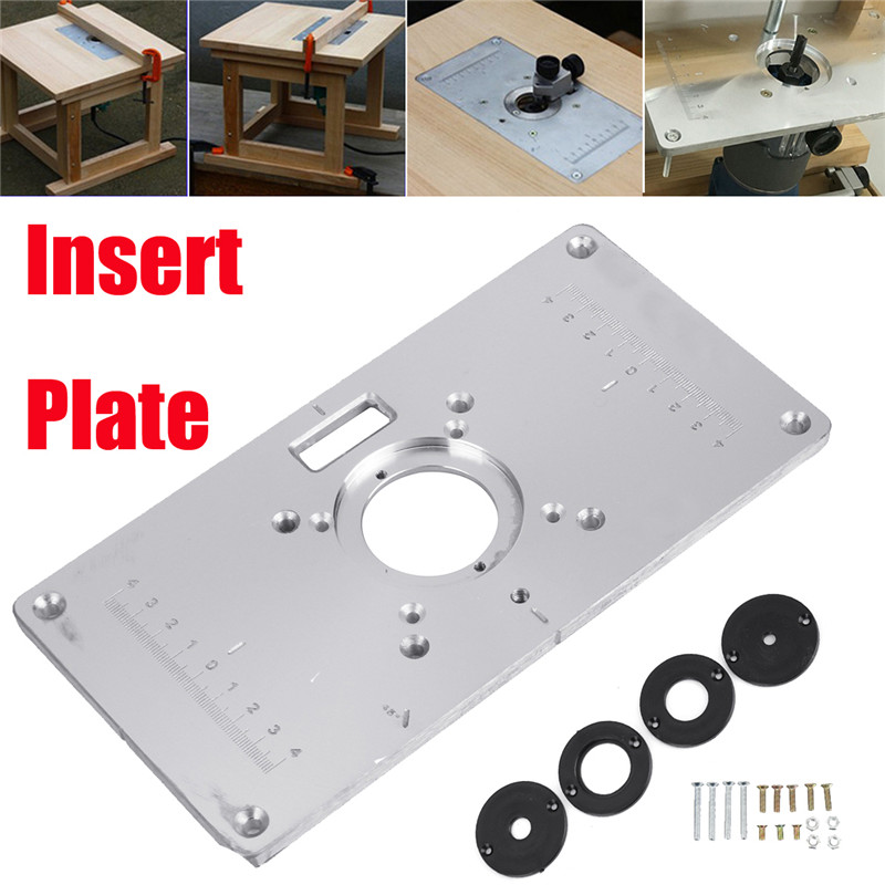 234*120mm Aluminum Metal Router Table Insert Plate +4pcs Ring For DIY Woodworking Tool Wood Router Trimmer Model Engrave Machine manual metal bending machine press brake for making metal model diy s n 20012
