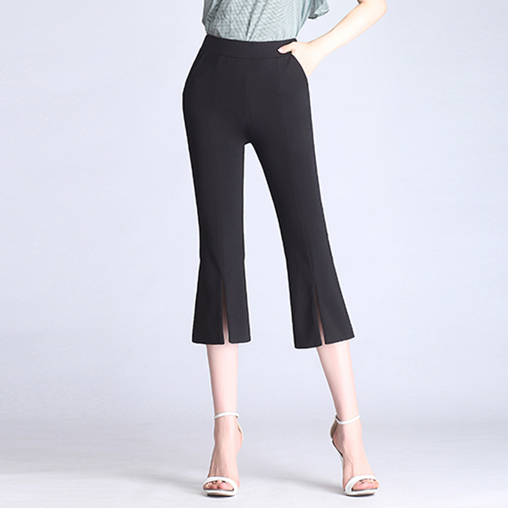 2019 new summer women thin section black micro flare   pants     capris   female cropped trousers slit high waist elastic slim   pants