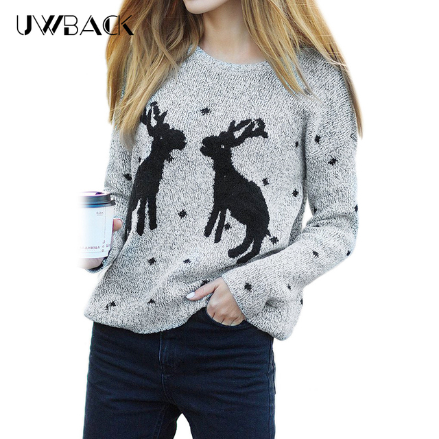 Uwback Christmas Sweaters and Pullovers Women 2017 New Femme Deer ...